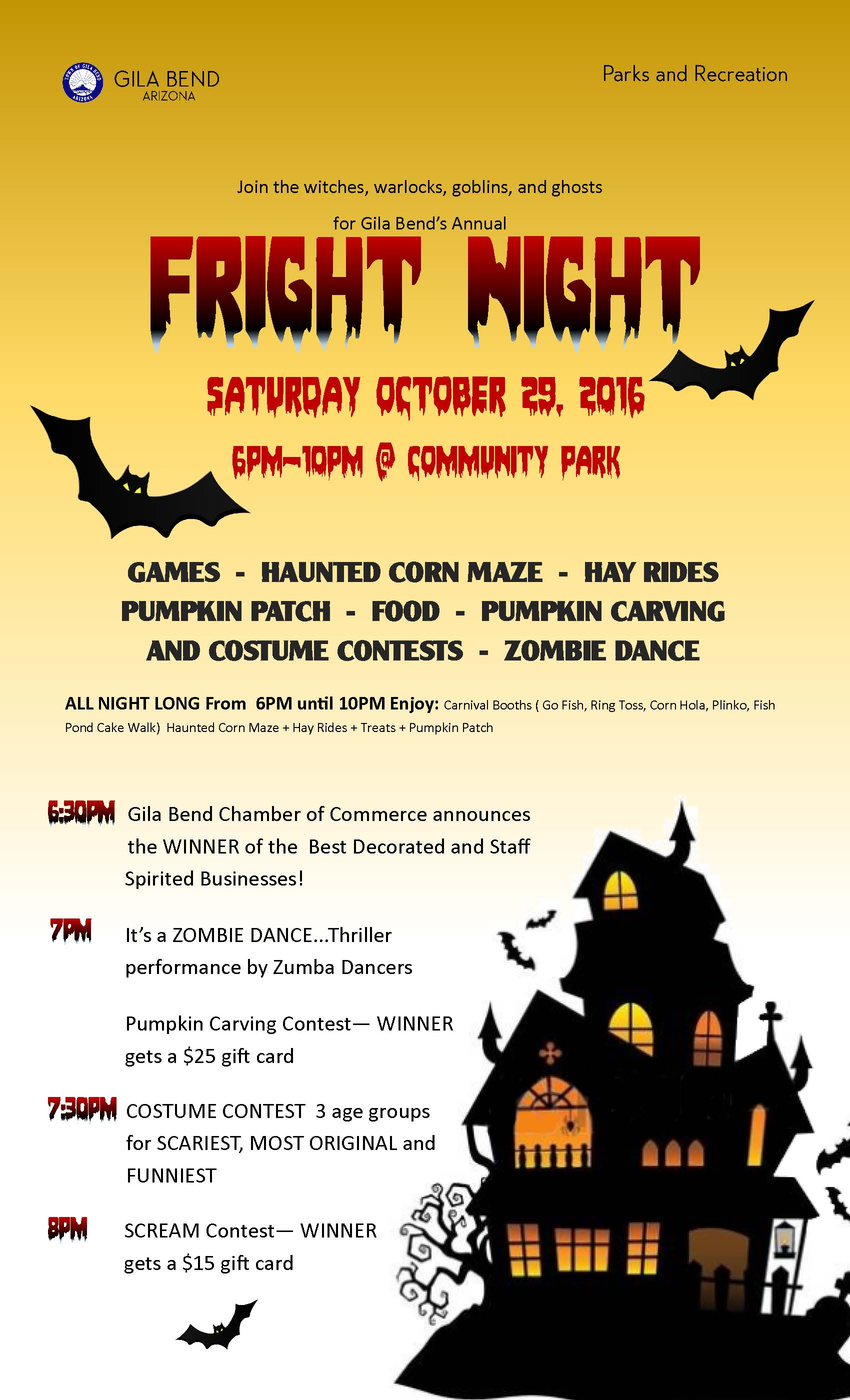 Gila Bend's Fright Night poster showcasing treats, games and contests for everyone. OCt 29th begins at 6pm