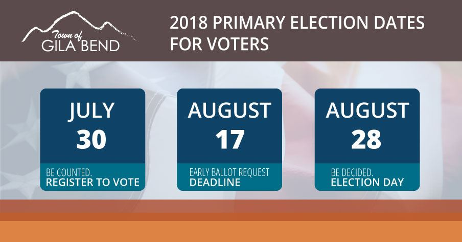 Deadline dates for voter registration, early ballots and election date