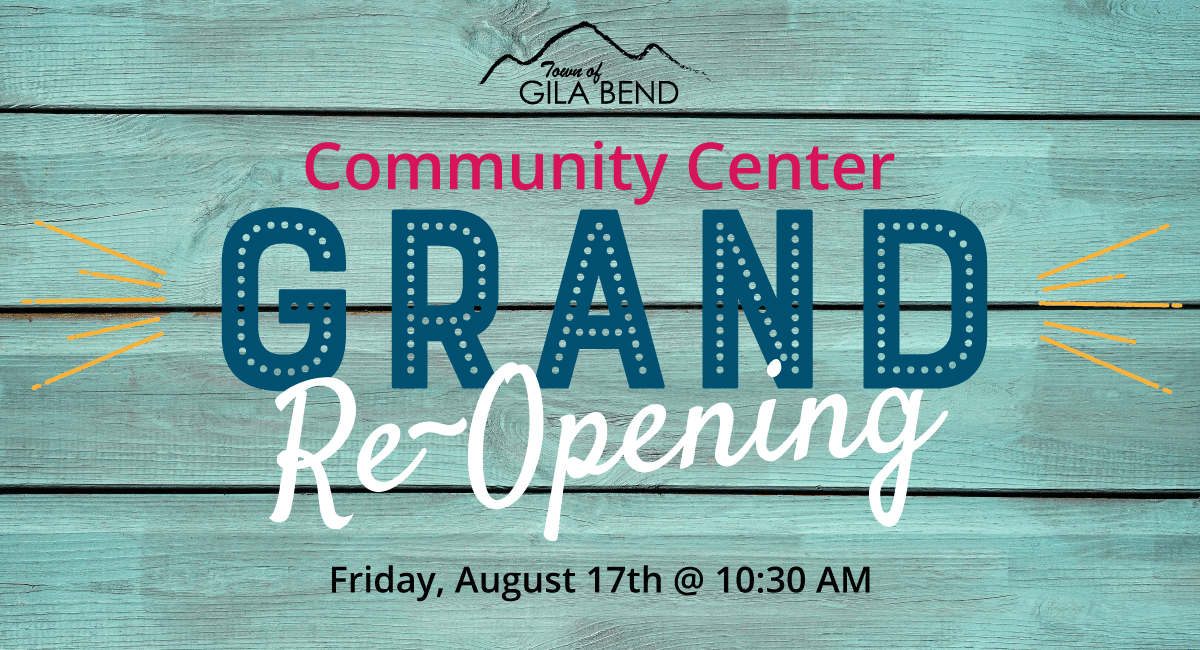 Community Center Grand Re-Opening Sign