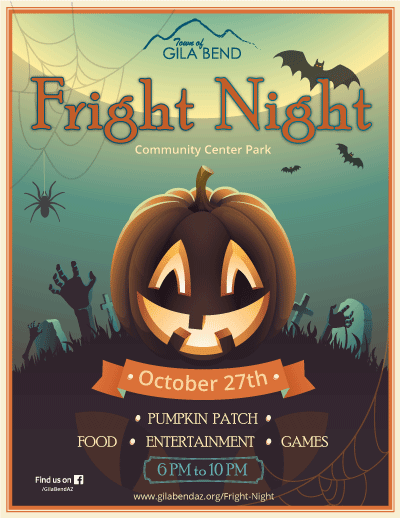 2018 Fright Night image with pumpkin and ghosts. Hay rides, pumpkin patch. 6-10PM