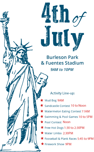 July 4th Activity Schedule with Statue of liberty