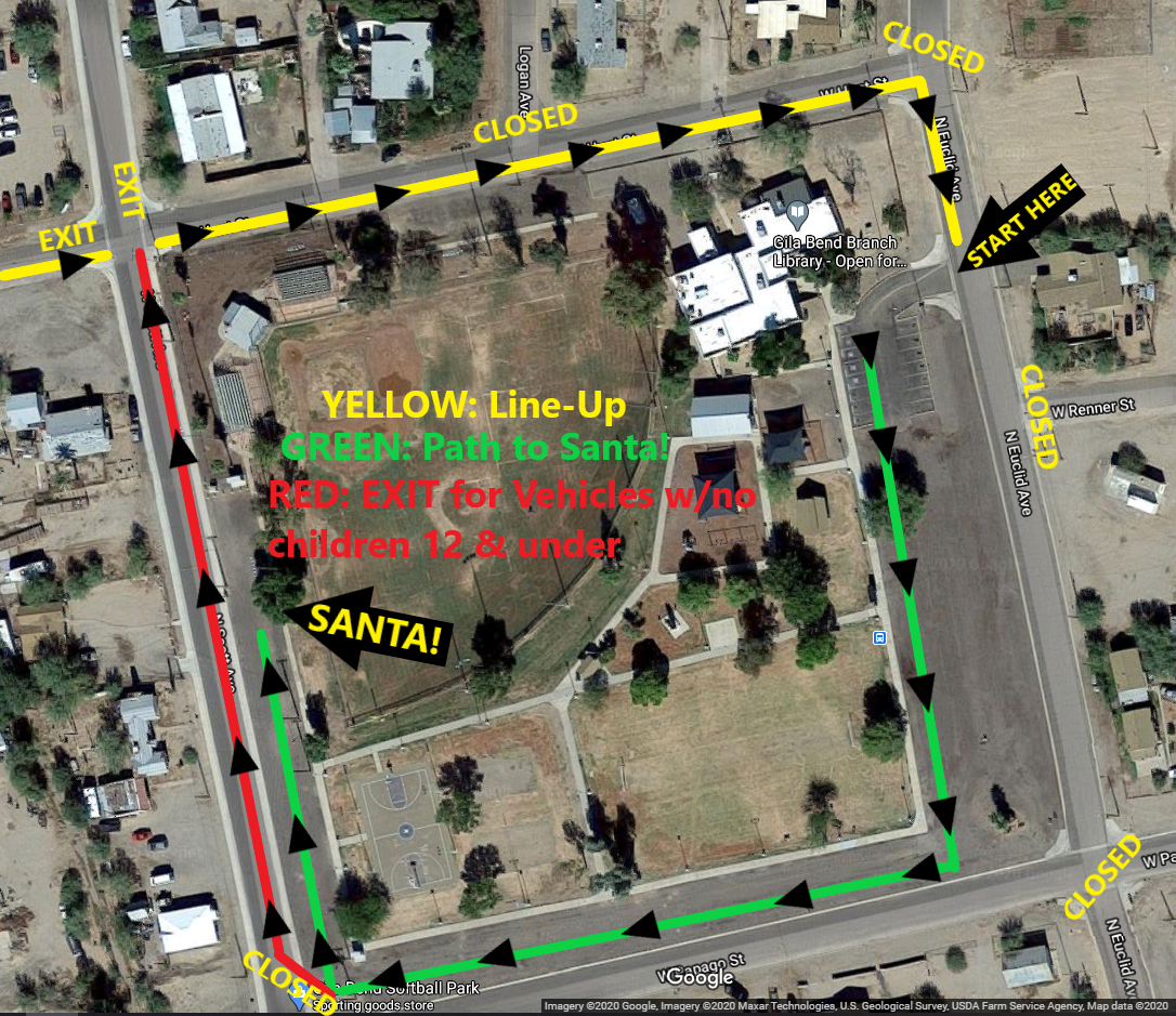 Traffic Map for Christmas event in Gila Bend