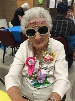Celebrating her 100th birthday, here is Margie Lonas of Gila Bend, AZ.